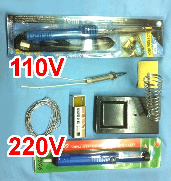 Soldering-Iron-Gun-Core-Solder-Wire-Desoldering-Vacuum-Rosin-60W-8-pcs-Kit-Set